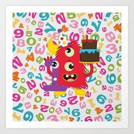 Birthday Monster 1st Birthday Art Print
