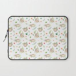 Modern green pink brown watercolor sloth floral pattern Laptop Sleeve