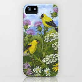 Goldfinches and Thistle iPhone Case