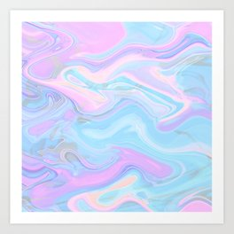 Sea Marble Candy Pattern - Violet, Aqua and Blue Art Print
