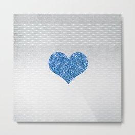 Faux Blue Glitter Heart on Metallic Silver Metal Print