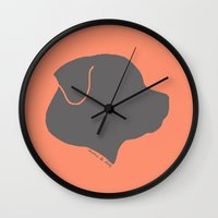 rottweiler Wall Clocks featuring ROTTWEILER GREY ON PEACH by Moni & Dog