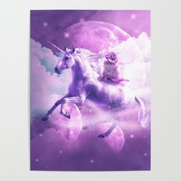 Kitty Cat Riding On Flying Space Galaxy Unicorn Poster