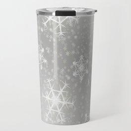 Snowflake Christmas silver snowflakes bokeh lights pattern Travel Mug