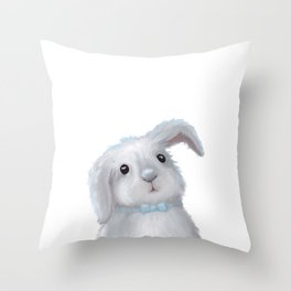 White Rabbit Boy isolated Throw Pillow