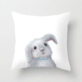 White Rabbit Boy isolated Throw Pillow