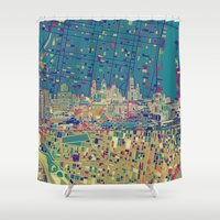 philadelphia Shower Curtains featuring philadelphia city skyline map by Bekim ART