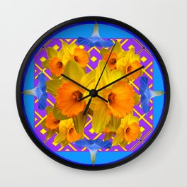 Sapphire Blue Morning Glories & Daffodils Pattern Art Wall Clock