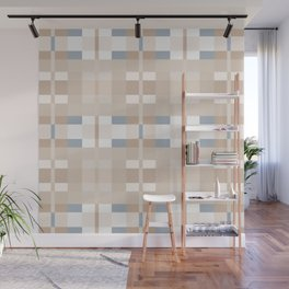 Beige and Blue Color Blocks Geometric Pattern Wall Mural