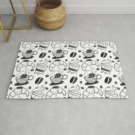 Coffee, tea and croissants for everyone! - Black & white Rug