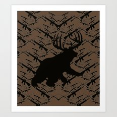 Bear with Buck Horns Art Print