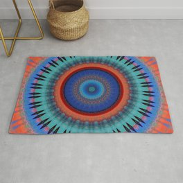 Orange Bright Blue Mandala Design Rug