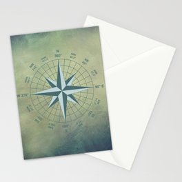 Compass Graphic on Grey Textured background Stationery Cards