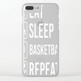 Basketball Eat Sleep Repeat Clear iPhone Case