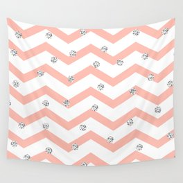Geometrical coral white silver glitter polka dots Wall Tapestry