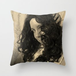 Sepia Girl Throw Pillow