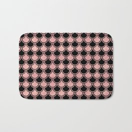 Mermaid Scales Rose Gold Pink on Black Bath Mat