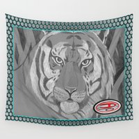 tigers Wall Tapestries featuring Tigers in the grass by Nerd Artist DM