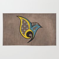 persian Area & Throw Rugs featuring Persian Bird by Katayoon Photography
