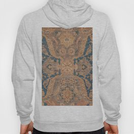 Persian Motif I // 17th Century Ornate Rose Gold Silver Royal Blue Yellow Flowery Accent Rug Pattern Hoody