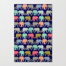 baby elephants and flamingos navy Canvas Print