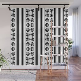 Geometric Dusky Black & White Vertical Stripes & Circles Wall Mural