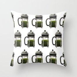 French Press - Olive Green Throw Pillow
