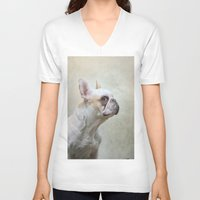 french bulldog V-neck T-shirts featuring French bulldog  by Pauline Fowler ( Polly470 )