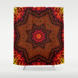 Fiery Fractal Mandala 2 Shower Curtain