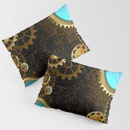 Steampunk Background with Gears Pillow Sham
