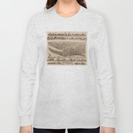 Vintage Pictorial Map of Pawtuxet RI (1890) Long Sleeve T-shirt