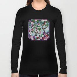 Hummingbirds in Fuchsia Flower Garden Long Sleeve T-shirt