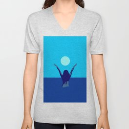 Blue sky and moon is calling me.. Unisex V-Neck