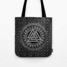 Silver Metallic Valknut Symbol on Celtic Pattern Tote Bag