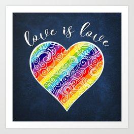 Love is Love Rainbow Heart Art Print