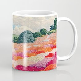 View of an Azalea Garden and Mt. Fuji: Hasui, Kawase Original Japanese Woodblock Print Coffee Mug