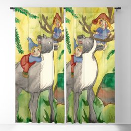 Elves and Reindeer Blackout Curtain
