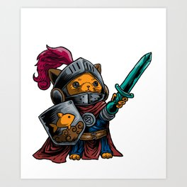 Knight Cat Warrior Shield Sword Cavalier Noble Gift Art Print