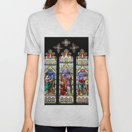 Cathedral Stained Glass 3 Unisex V-Neck