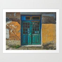 Turquoise Wooden Door - Aged & Worn Art Print