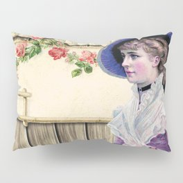 VINTAGE LADY AND ROSES Pop Art Pillow Sham