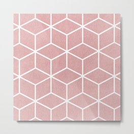 Blush Pink and White - Geometric Textured Cube Design Metal Print