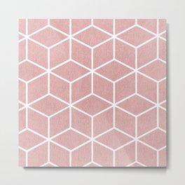 Blush Pink and White - Geometric Textured Cube Design Metal Print