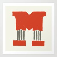 lettering Art Prints featuring M Lettering by Mallory Ming