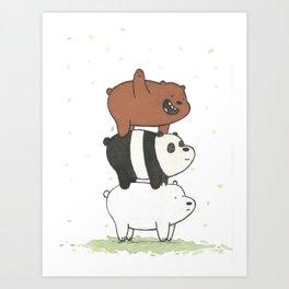 We Bare Bears by Maria Piedra Art Print