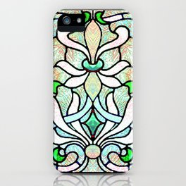 Delicate Stained-glass in Victorian Green Detail iPhone Case