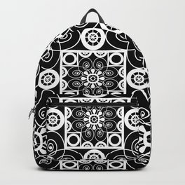 Retro .Vintage . Black and white openwork ornament . Backpack