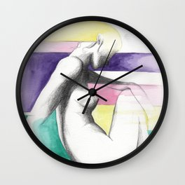 pensive rainbow woman Wall Clock