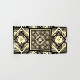 Cherokee Rose Pattern 1 black and white Hand & Bath Towel