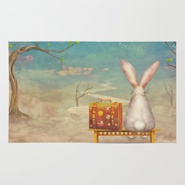 Sad rabbit  with suitcase sitting on the bench on the cloud in sky  Rug